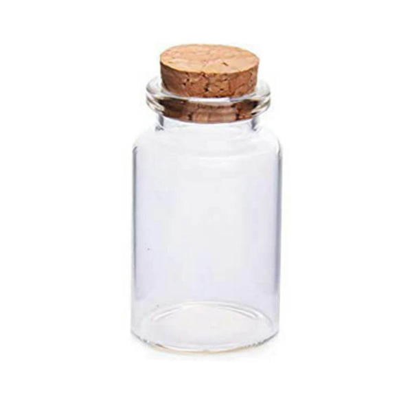 "Glass Bottle Clear Container Jar Cylinder with Cork 2""x1.18"" Potion Holds 20ml Apothecary Vial 1 Wishing bottle"