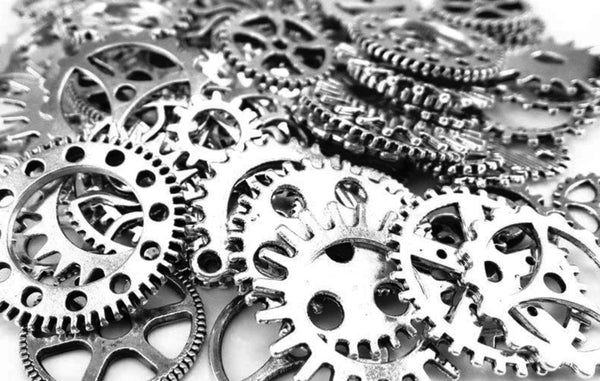 20 Silver Assorted Gears Steampunk Charm Cog Charms Pendants Mixed Sprockets Metal Gear Steampunk Cog 10mm-26mm Bulk Lot Set