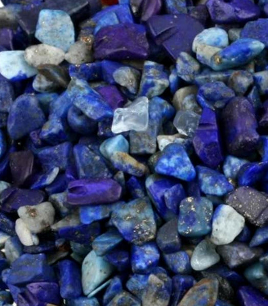 Natural Lapis Lazuli Tumbled Crystal SMALL Chips Stone Assorted Mixed Sizes Bulk Supply Lot 10 pc Set