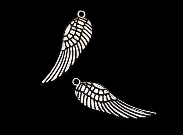"Angel Wings Charm Wing Pendant Antiqued Silver Steampunk Flying Charm Angel Wing Pendant 2 sided 30mm/1.18"" Bulk Lot 10 pc Set"