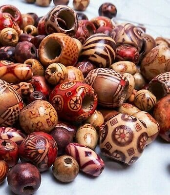 Assorted Wood Beads Painted Macrame Craft Bulk Mix Sizes Lot 50 pc Set