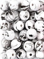 "Ink Swirl Black and White Marble Pattern Acrylic Round Beads Craft Bulk Lot 20 pc Set 8mm/0.3"" Beading"