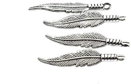 "Feather Charms Feathers Pendants Antiqued Silver Finish 42mm/1.5"" Wrapped Feather Native American Charm Boho Bulk Lot 25 pc Set"