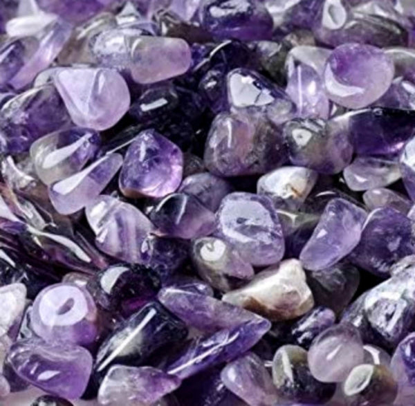Amethyst Natural Crystal Tumbled Chips Stone Assorted Sizes MEDIUM 11-13mm Bulk Supply Lot 10 pc Set