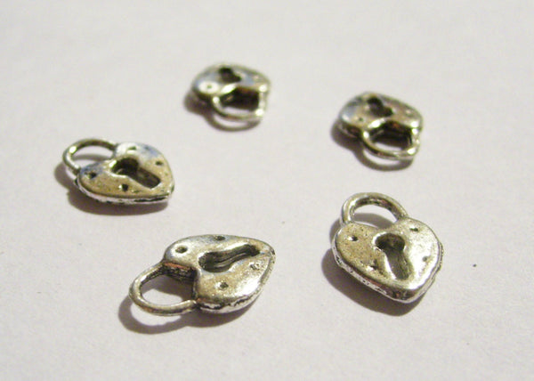 "Lock Charms Heart Lock Charm Antiqued Silver Heart Padlock Pendants 11mm/0.4"" Wonderland Fantasy Fairytale Charms"