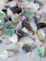 Natural Flourite Crystal Tumbled Chips Stone Assorted Mixed Colors Bulk Supply Lot 100 pc Set MEDIUM size about 9-15mm