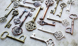 Skeleton Keys Steampunk Keys Skeleton Key Charms Large Keys Assorted Keys Key Pendants Vintage Wedding Keys Bulk Skeleton Keys 30 pcs 2-3.5""