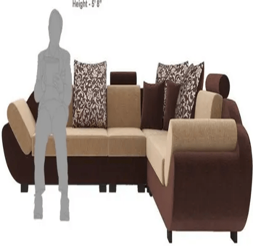 Bharat Lifestyle Sectional Sofa Set (Finish Color - Cream Brown)