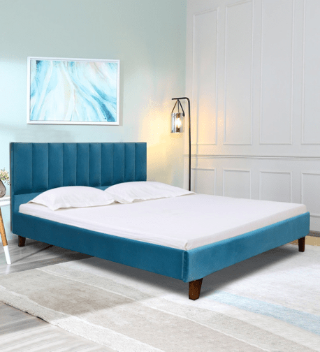 Agata Upholstered Bed in Turquoish Blue Colour by Casacraft