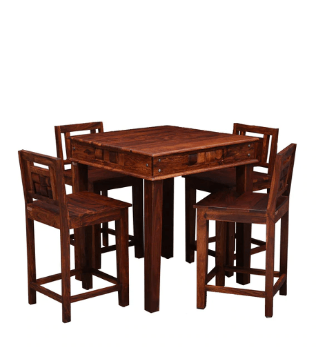 Woodway Solid Wood Bar Table Set in Honey Oak Finish by Woodsworth