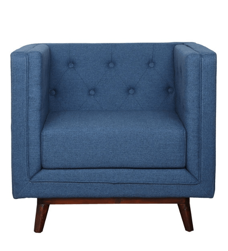 Silvana 1 Seater Sofa in Blue Colour by CasaCraft