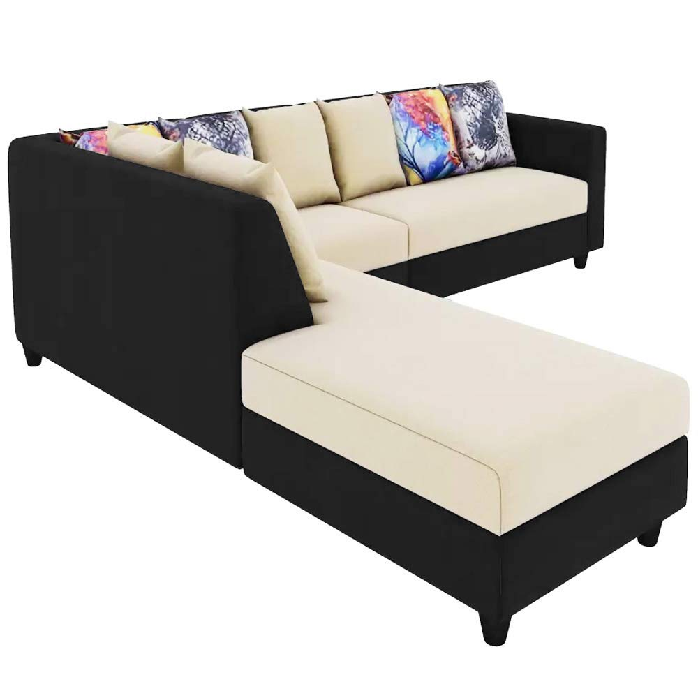 CasaStyle - Casper Six Seater LHS L Shape Sofa Set (Cream-Black)