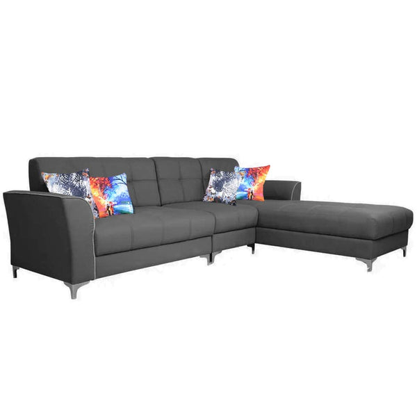 Furny - Elvon Modern L Shape Sofa Set in Sectional Design for Home and Living Room - RHS (Right Facing) :- Dark Grey