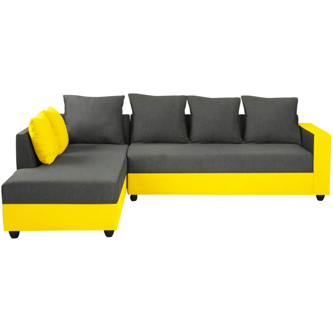 Woodcasa - Areo Six Seater L Shape Sofa - LHS (Grey-Yellow)