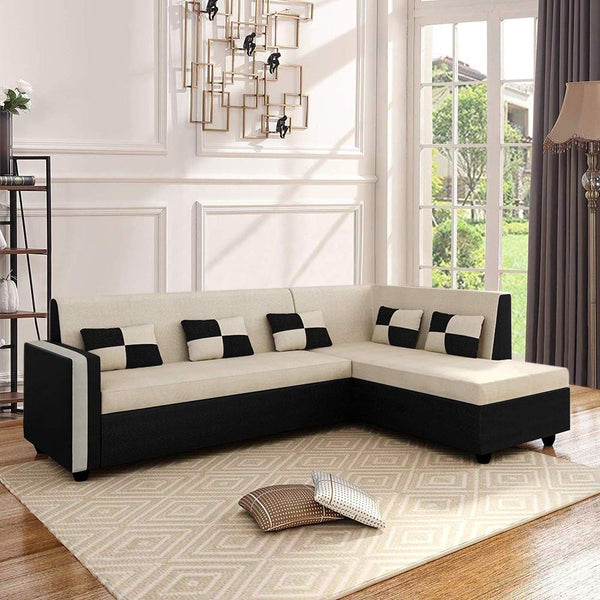 CasaStyle Leximus Six Seater RHS L Shape Sofa Set (Cream-Black) for Living Room