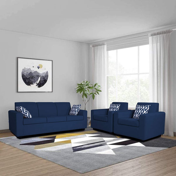 Adorn India Monteno 5 Seater 3-1-1 Sofa Set (Blue)
