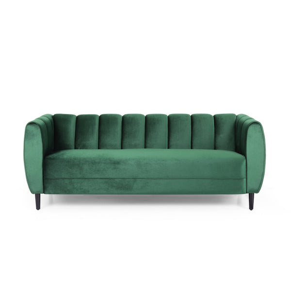 Bobran Modern Velvet 3 Seater Sofa by Christopher Knight Home
