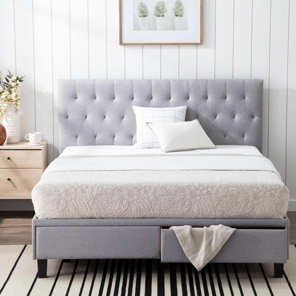 Brookside Anna Upholstered Storage Bed with Drawers in Grey Colour by Casacraft