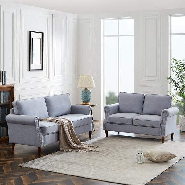 Global Pronex Linen-Like 2 Piece Sofa and Loveseat Set, Light Grey