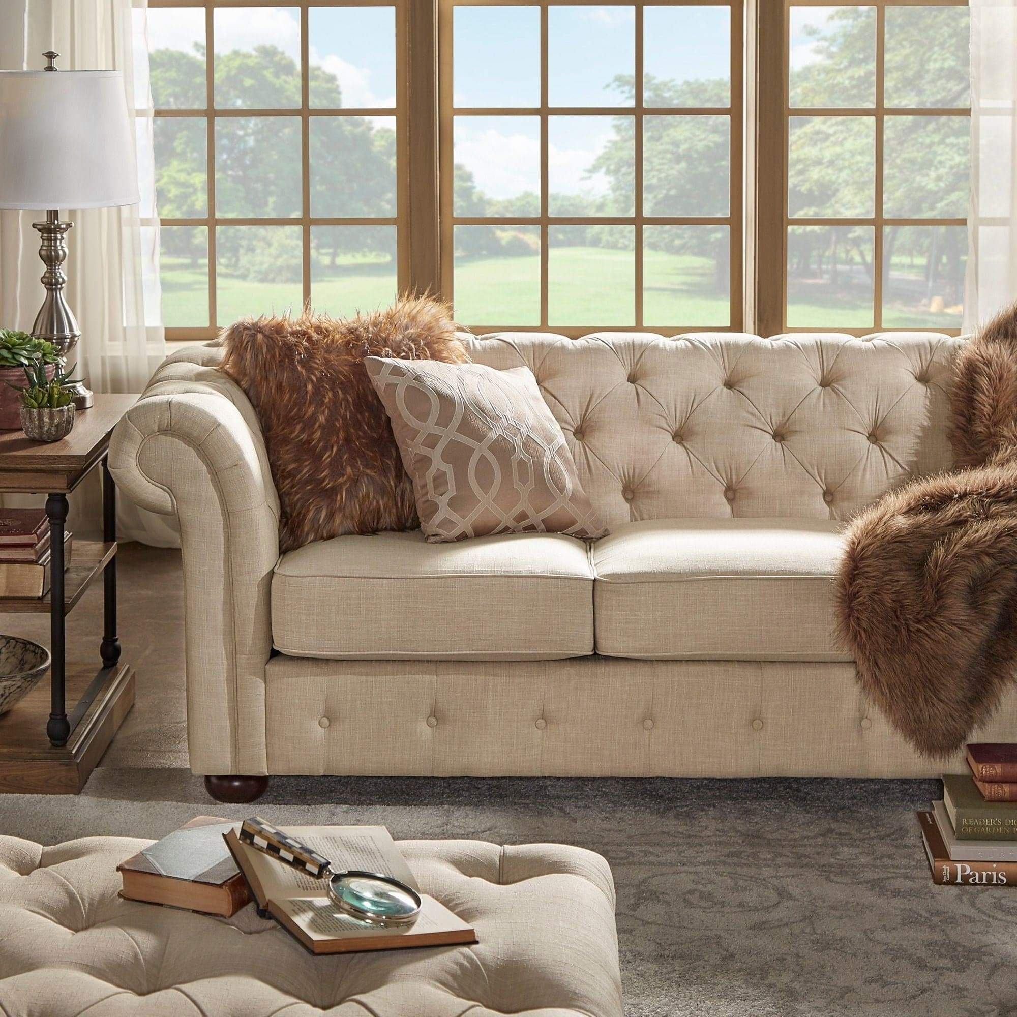Knightsbridge Beige Chesterfield Sofa and Seating by Inspire Q Artisan