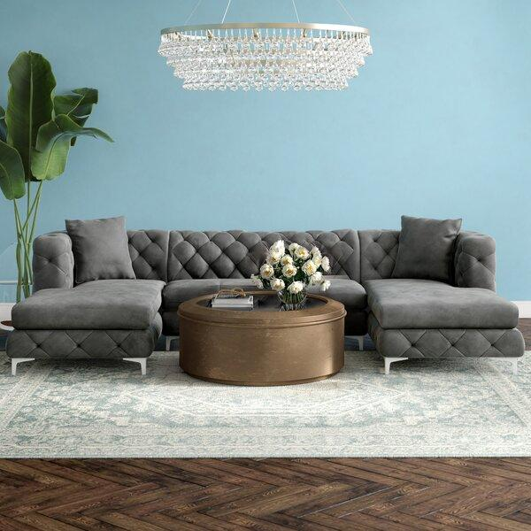 "Miranda 127"" Velvet Reversible Sectional Sofa Set in Charcoal Colour"
