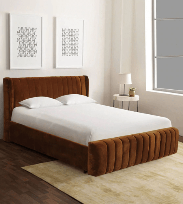 Leo Upholstered Bed in Brown Colour by Trendsbee