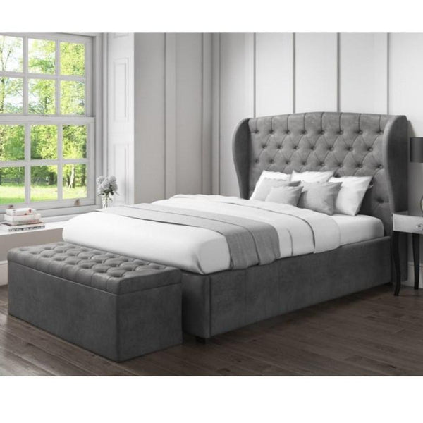 Bombox Upholstered Fabric Double Bed with Storage in Grey Color by Goodwood