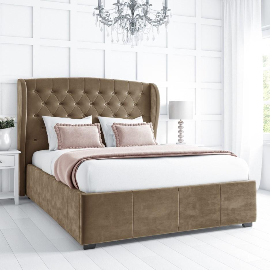 Bombox Upholstered Fabric Double Bed with Storage in Beige Color by Goodwood