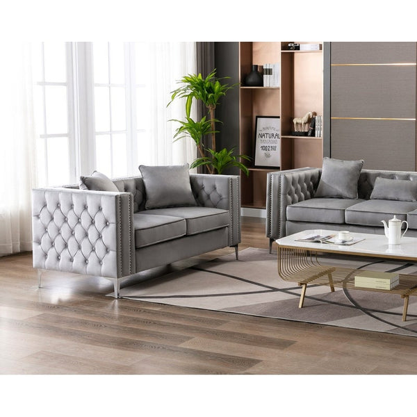 Silver Orchid Winters Chesterfiled Sofa Set in Grey Colour