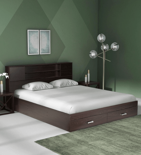 Yuuna Bed with Storage in Wenge Finish by Mintwud