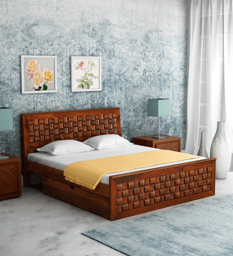 Woodway Solid Wood King Size Bed with Storage in Honey Oak Finish by Woodsworth