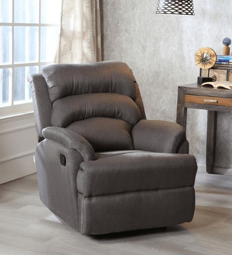 Valencia 1 Seater Recliner in Warm Grey Colour by CasaCraft