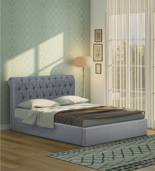 Brayan Upholstered King Size Bed with Storage in Light Grey Colour