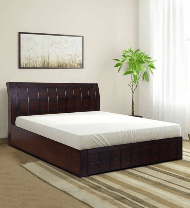 Ellis Wooden Bed with Storage in Walnut Finish