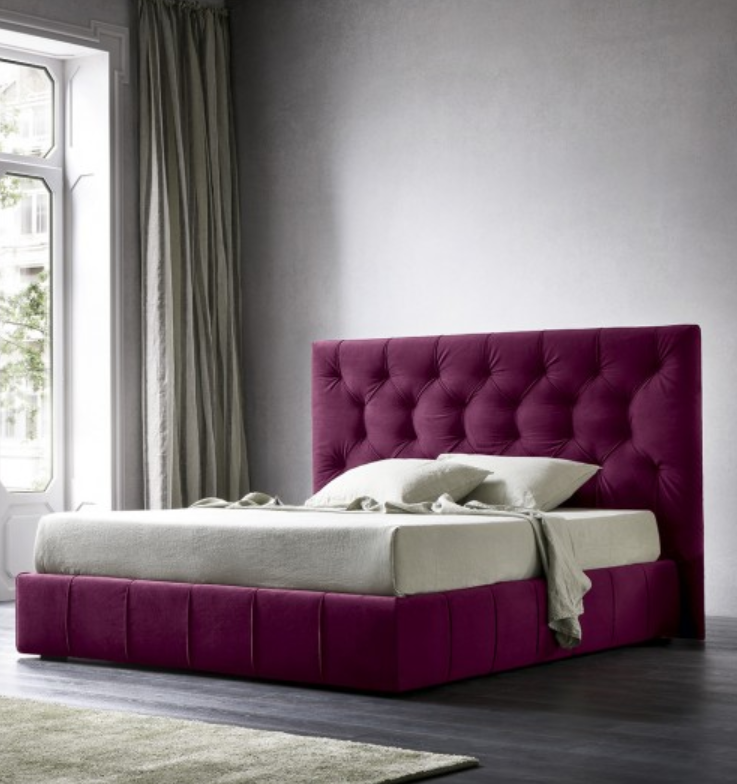 Kinth King Size Upholstered Bed Storage in Purple Colour