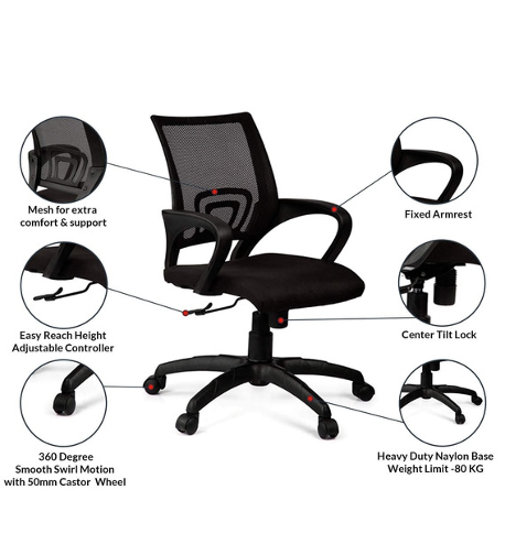 Ergonomic Chair in Black Colour by Adiko Systems