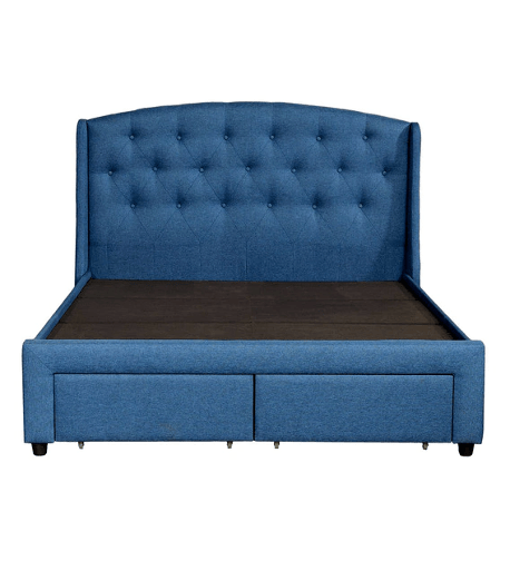 Danilo Upholstered King Size Bed in Navy Blue Colour with Storage Drawers by CasaCraft