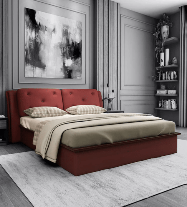 Heralding Upholstered Size Bed with Storage Burgundy Colour