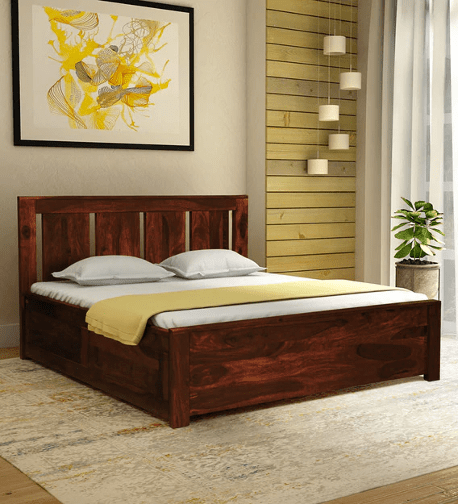 Amarillo Solid Wood King Size Bed with Storage in Honey Oak Finish by Woodsworth