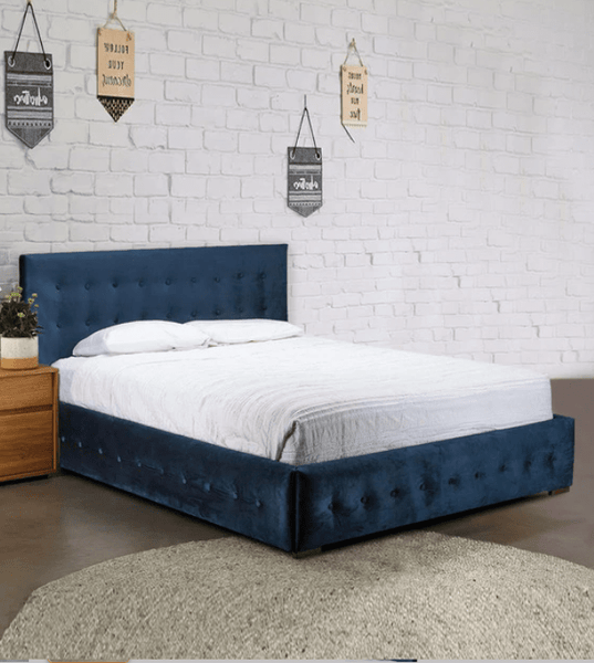 Morgan Queen Size Upholstered Bed in Velvet Blue Colour by Afydecor