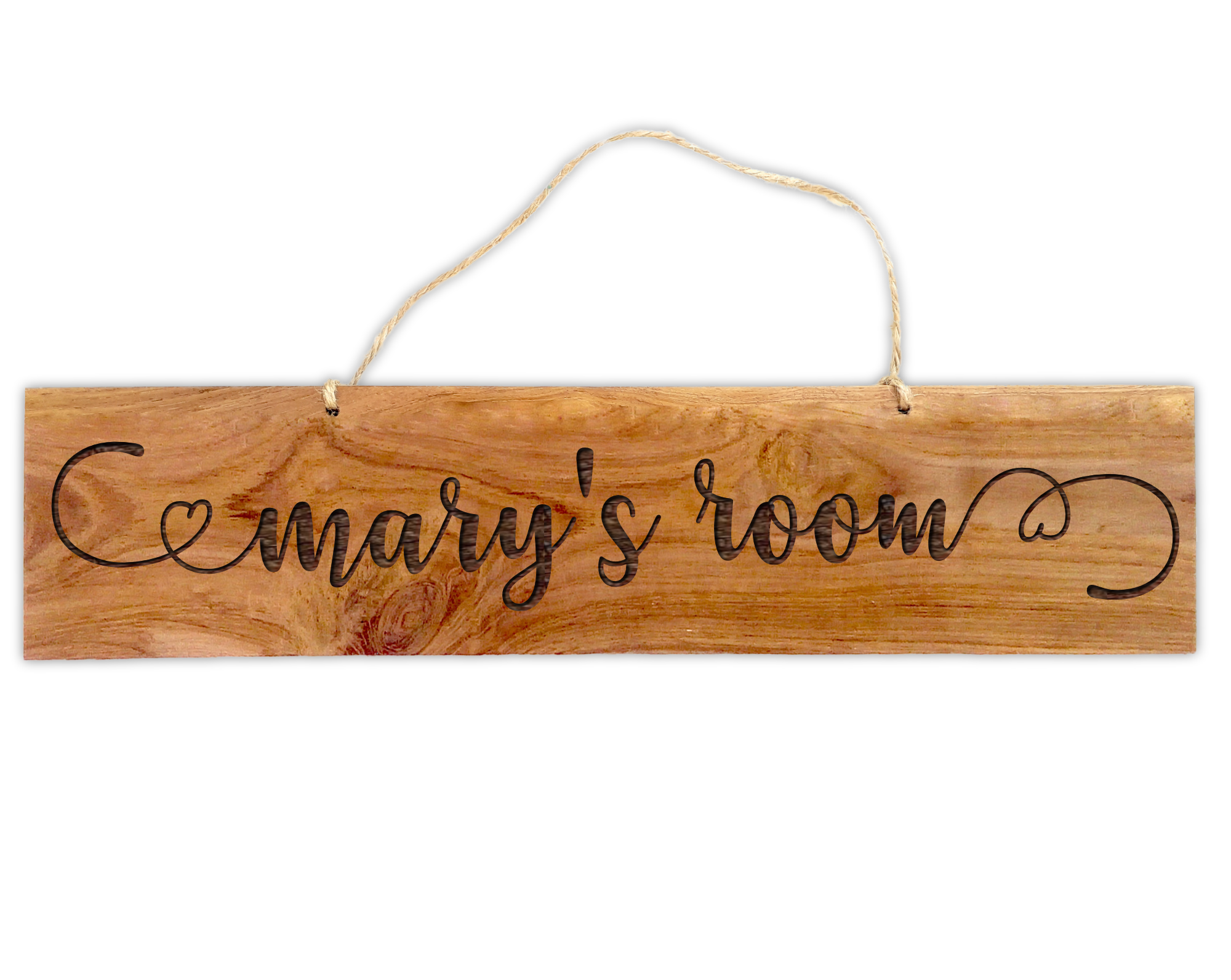~Swirls & Hearts~ Imperfectly Perfect Personalised Rustic Wooden Hanging Sign - Solid Teak Wood