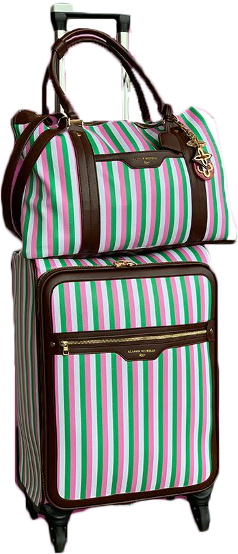 Pink & Green Candy Stripe Luggage Set w/ Dark Brown Trim