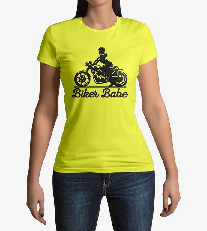 Biker Babe - Women's Round Neck Cotton T-Shirts by Obsession Inspired