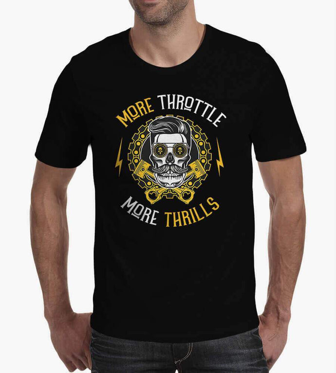 More Throttle More Thrills - Men's Round Neck Cotton T-Shirts by Obsession Inspired