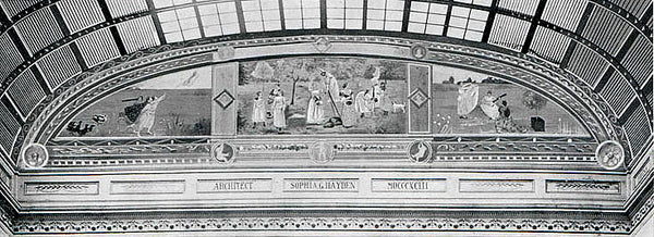 A black and white photo of the painting by Mary Cassatt at the 1893 Columbian Exposition in Chicago.