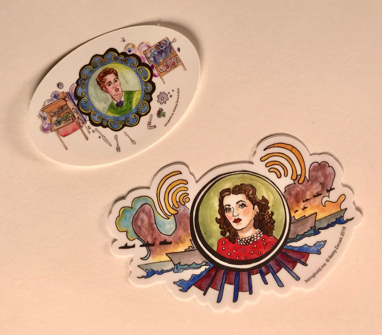 Set of 2 Stickers, Hedy Lamarr & Josephine Cochrane, Inventors