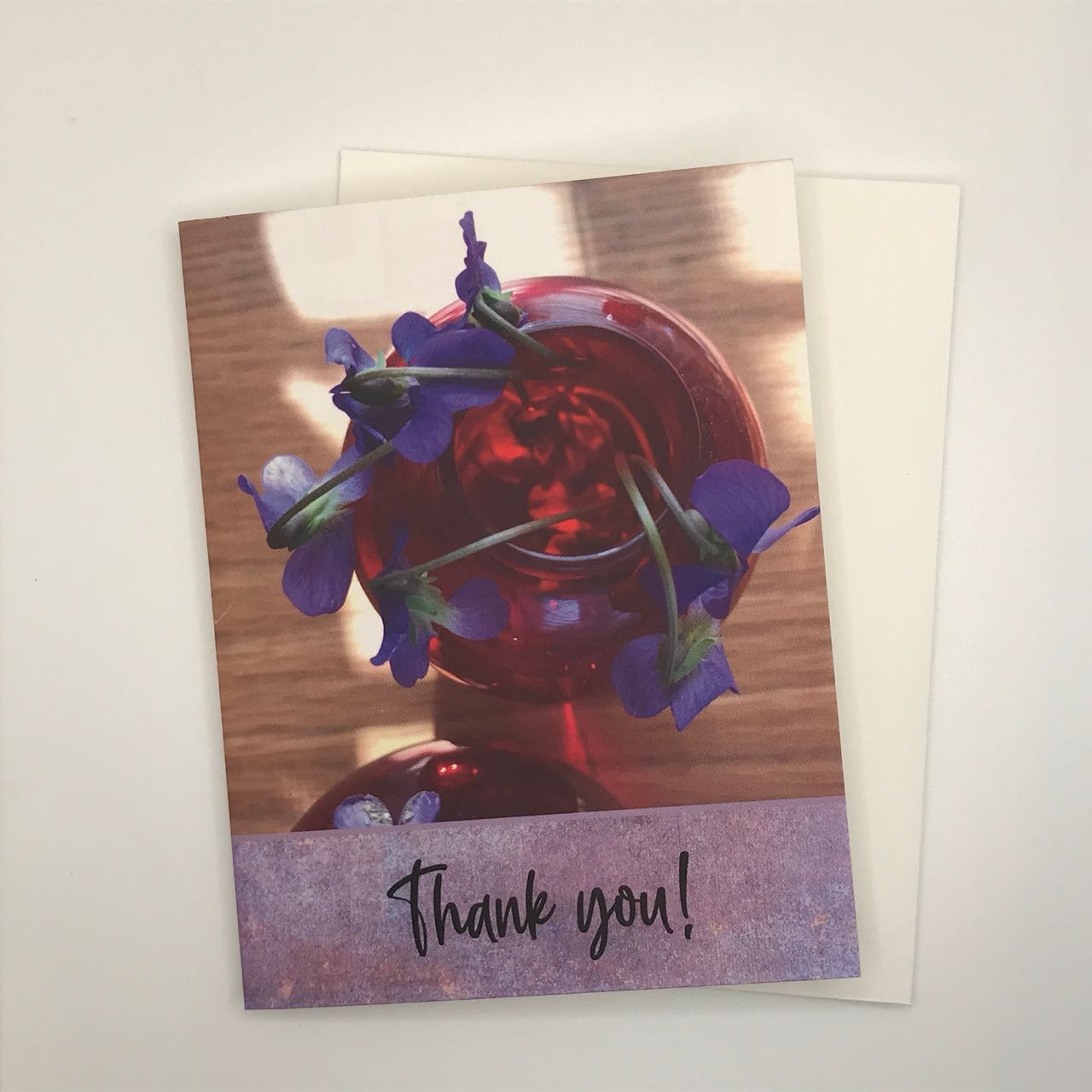 Thank You Card with Wild Violets in Red Vase