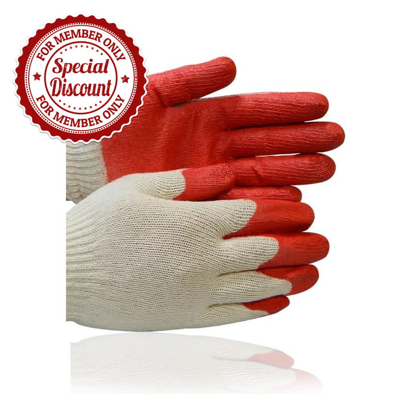 Zered™ Premium RED Latex Rubber Palm Coated Work Glove