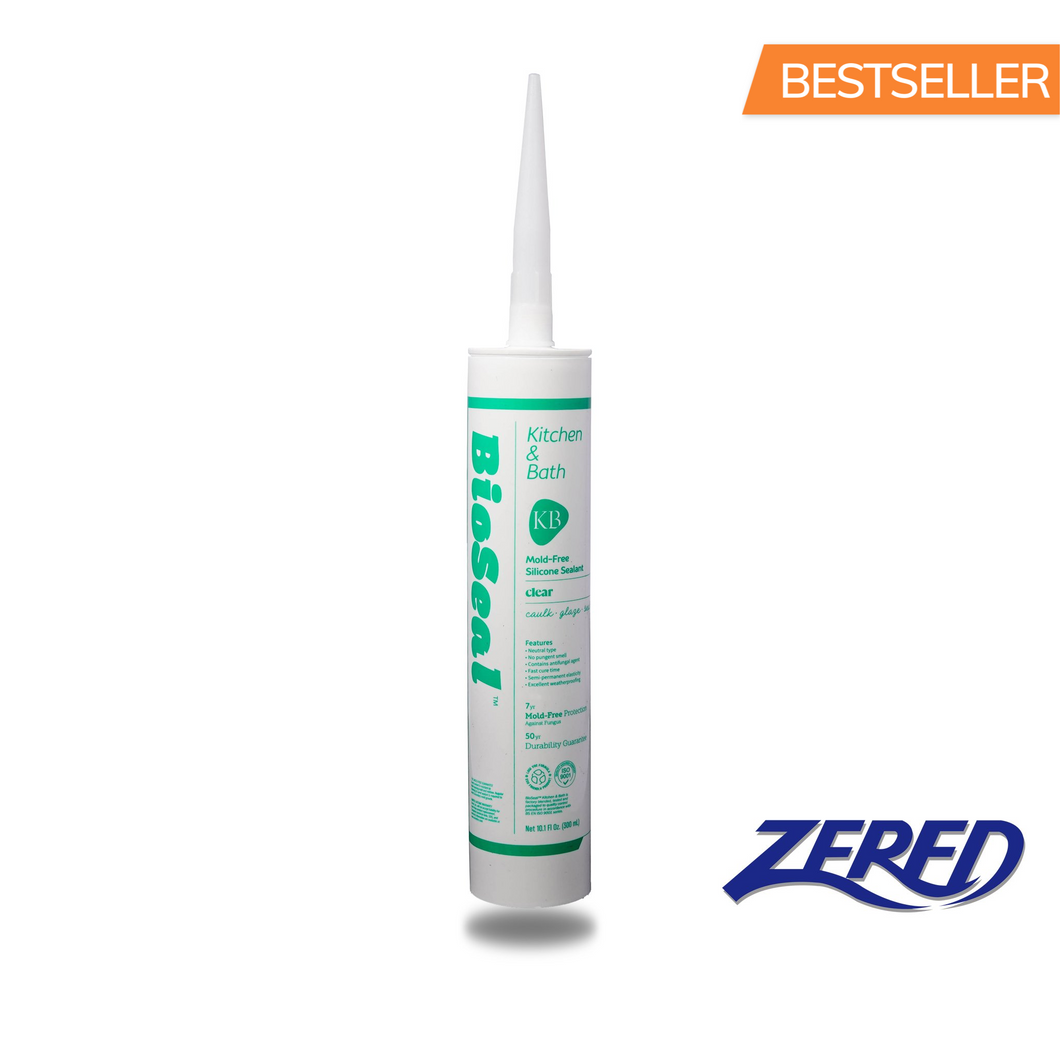 Zered™ BioSeal Silicone 10.1oz Clear - Waterproof Kitchen and Bath Grade Silicone Sealant Caulk