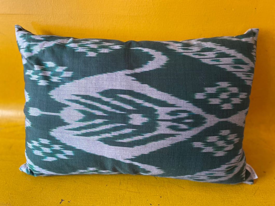 Handmake Silk Ikat Pillow from Uzbekistan - Forest